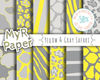 "Animal Digital Paper: ""Yellow & Gray Safari"" pack of backgrounds - jungle, zoo, animals, giraffe, leopard, zebra, tiger, cow - yellow grey"