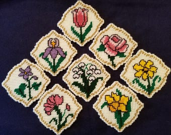 Flower coasters, set of 8