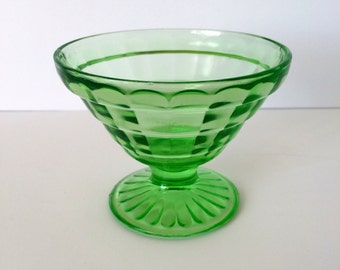 1920's Block Optic Green Uranium Depression Glass Sherbert Dish