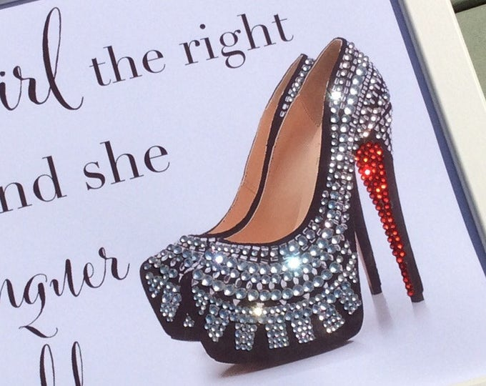 Crystal Louboutin shoes custom prints  | Give a girl the right shoes quote | Marilyn monroe | Sparkle | Red sole crystals