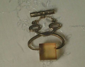 Antique Vintage Brooch Pin Novelty, Ice Tongs with Block of Ice