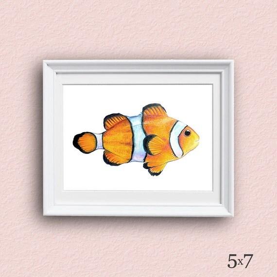 Tropical Fish Art - Clown Fish - Fish Art - Giclee Art Print