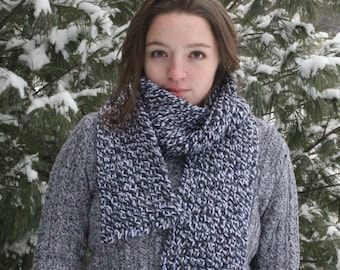 Navy Blue, Light Grey, and White Regular Long Knitted Scarf - Fall and Winter Scarf