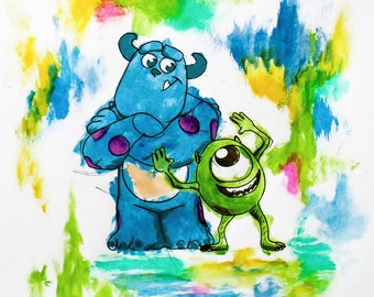 Postcard sized - Monsters Inc Acrylic Painting print