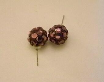 Round Purple Crystal Like Post Pierced Earrings