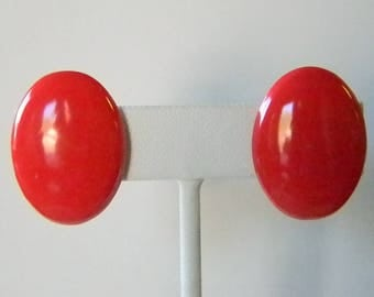 Bright Red Oval Clip Earrings