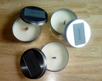 Colza Wood Wick Candles,  Candle Box Set, Scented candles cinnamon and orange, white candle, candle aluminum container, gift