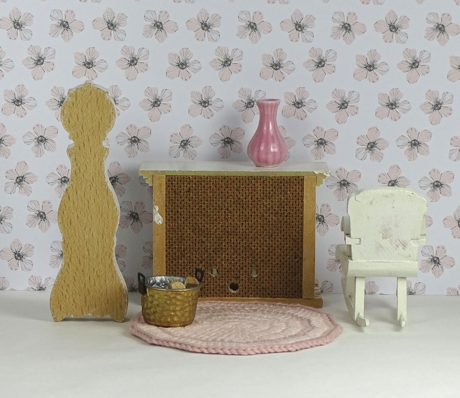 doll house vintage lundby living room fireplace set 1960s 1980s