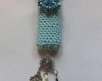 Floral mint, handmade crochet lightercozy.