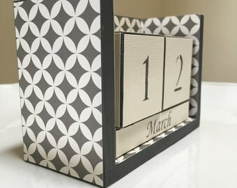Geometric Calendar - Gray Desk Calendar - Office Gift - Geometric Shapes - Gray Office - Teacher Gift - Gray Cream Design - Office Decor