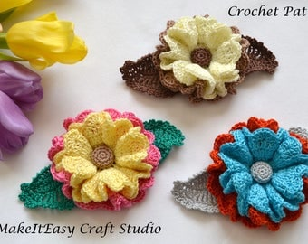 CROCHET PATTERN, Crochet Flower Applique, Embellishment, Crochet Brooch, Digital Download, PDF file