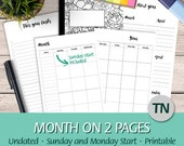 TN Regular - Undated Month on Two Pages, Mo2P, Monday and Sunday Start, Goals, To do - Printable Planner Insert Traveler's Notebook, PDF