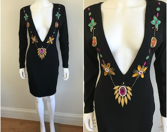 Vtg 1980s Black Sweater Knit Midi Wiggle Dress PLUNGING Neckline JEWELED S M