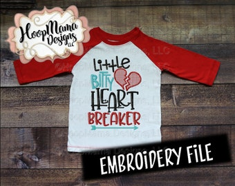 Little Bitty Heart Breaker 4x4 5x7 6x10 Machine Embroidery Design pes jef dst hus vip vp3 xxx exp Valentine Embroidery