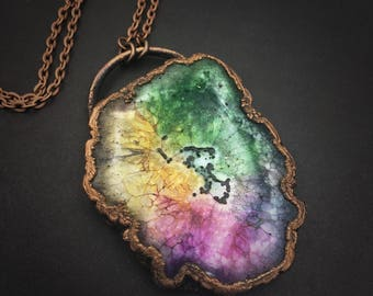 Rainbow Quartz Necklace | Electroformed Pendant | Solar Quartz