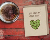 Hoppy Heart Valentine Card, Beer Card, Craft Beer, Greeting Card, Beer Hops, IPA, Beer Saying, Love, Anniversary, Card for Man