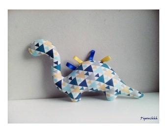 Decoration / Doudou dinosaur blue triangles