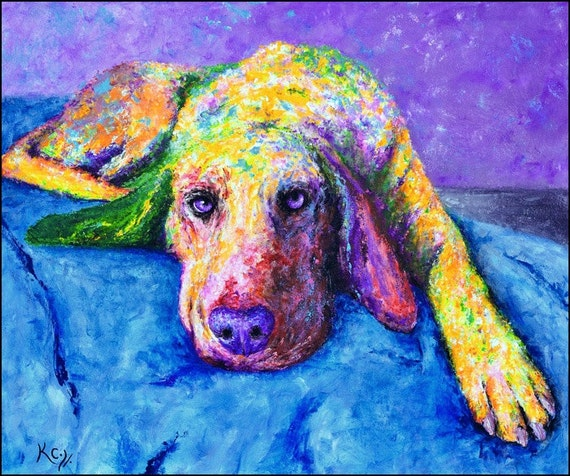 Hound Dog Art Print entitled Otis the Hound. Colorful Hound Dog Art. Portraits of Dogs, Dog Artwork. FREE SHIPPING!