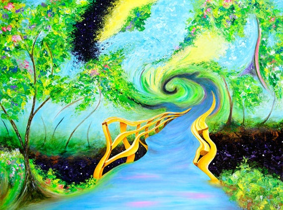 "Visionary Wall Art Print. Visionary Art. Surreal Art. Surreal Landscape. Surreal Artwork. Giclee Art Print of my Painting ""Cosmic Ascension"""