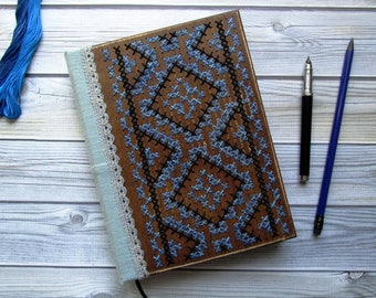 Wooden notebook with handmade embroidery, book for records in a wooden cover, rustic wedding accessory.