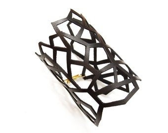 Leather Cutout Cuff Bracelet, Abstract Leather Bracelet