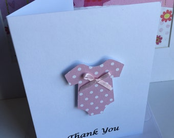 Baby Shower Thank You Cards, Baby shower cards, Thank you  Notes, Set of 10 cards, Onesie thank you card sets.