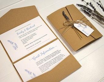 Rustic lavender pocketfold wedding invitation with twine and tag / country wedding / barn wedding / kraft pocket