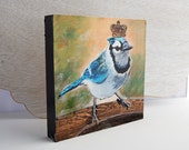 Blue Jay Print 6x6 on Wood Block Ready-to-Hang Bird Art from Original Acrylic Painting