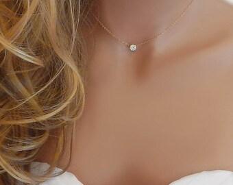 CZ  Necklace • Diamond Necklace • Gold Wedding Necklace • Silver Diamond Necklace • Bridesmaid • Girlfriend Gift