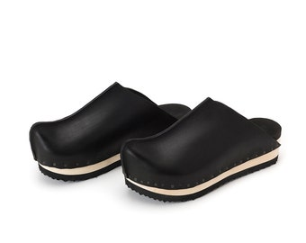 Black Mens wooden clogs, Leather mens clogs, Mens mules, Extra comfort footbed padding, NEILS, Free shipping