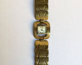 Vintage Mid Century Modern Ladies Peugeot Watch Bracelet -Swiss Made- Non Working-For Repair-Parts Or Re-Purpose-Chain Link-For Small Wrists