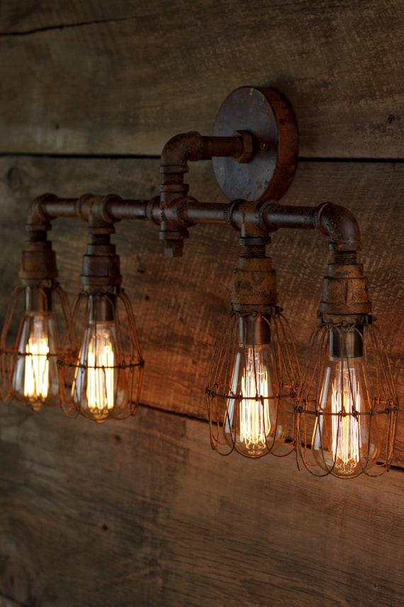 Rustic Industrial Bathroom Vanity Lights