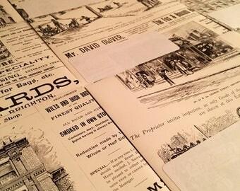 Handmade Envelopes Vintage Newspaper Adverts Letter Writing Set Pack of 5