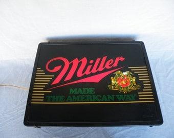 Vintage Lighted Miller Beer Sign Vintage Beer Sign Miller Beer Man Cave Decor