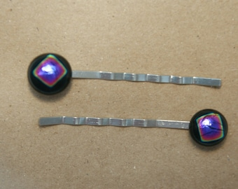 Fused Glass Bobby Pins; Set of 2; Dichroic Glass