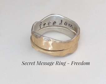 Secret Message Ring - Freedom - Sterling Silver & Brass - Size 8