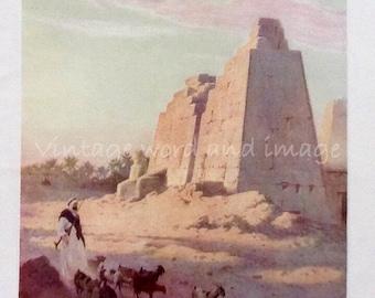 1910 Karnak Egypt Art Print Antique Engraving Vintage Lithograph Home Office Decor Watercolor Egyptian Monument Nile River Landscape