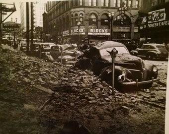 Seattle, Washington Quake, Earthquake, 1949, Original Newspaper Photograph, Paper, Black and White