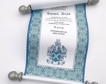 Prince birthday invitation scroll, royal herald invitation, castle party birthday invite, royal blue and silver, set of 10