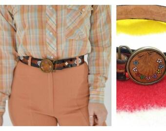 Boho Leather belt- Genuine tooled leather belt-Brown Leather belt- 70s vintage - Small