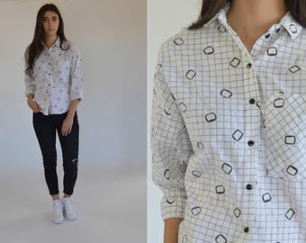 Vintage Button up 1980s shirt Retro print Womens 80s shirt -Small