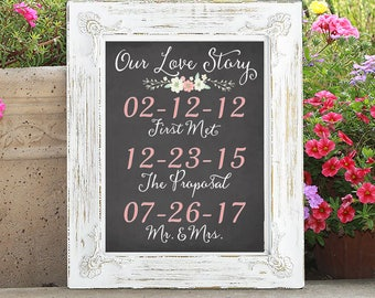 Chalkboard Our Love Story Floral Print with Special Dates
