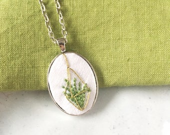 Air Plant Jewelry. Hand Embroidered Necklace. Air Plant Terrarium Pendant. Gardener Gift. Gift for Her.