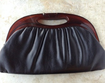Vintage Black Tortoiseshell Lucite Harry Levine Evening Clutch Purse Bag Valentine's Day