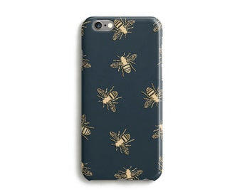 Bees Phone Case With Gold Texture, iPhone 7, 6s, Plus, SE, 5s, 5c, animal bumblebee insect, wasp, Samsung, S8, S8 Plus, Google Pixel, Green