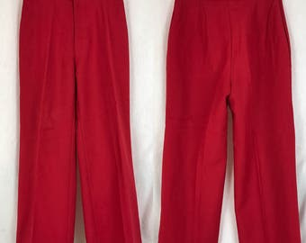 70's Levi's Red Wide Leg Cropped Trousers / Vintage 1970's High Waist Slacks High Rise