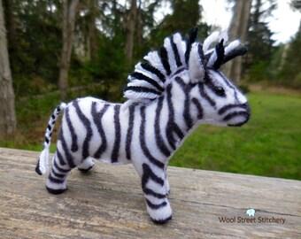 Small stuffed zebra, handmade felt zebra, zebra soft toy, animal gift, zoo animal