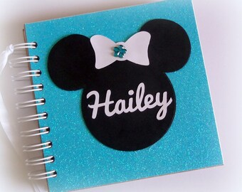 Glittery PERSONALIZED  Disney Autograph Book Scrapbook Travel Journal Vacation Photo Book