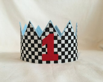 Race Car checkered crown, First Birthday crown, Gingham Birthday hat,  Race Car theme party, race car party hat, black checkered hat, crowns