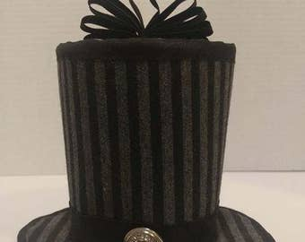 Black and Grey fabric Mini Top Hat Fascinator SteamPunk Cosplay